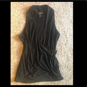 Women's WHBM wrap sleeveless Top Black Size M